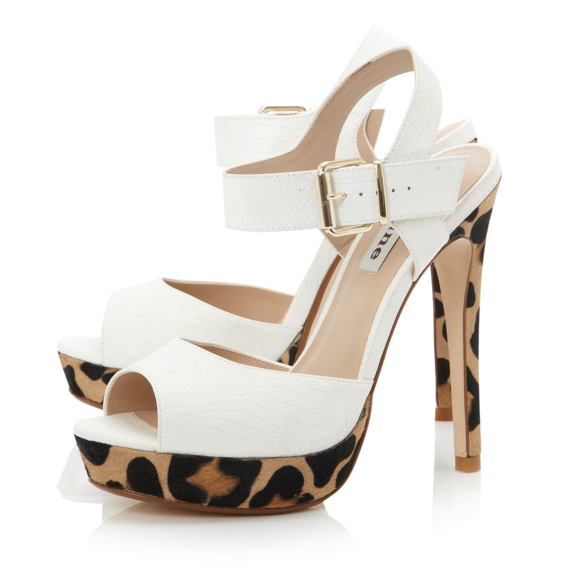 Hastings white snake and leopard sandals