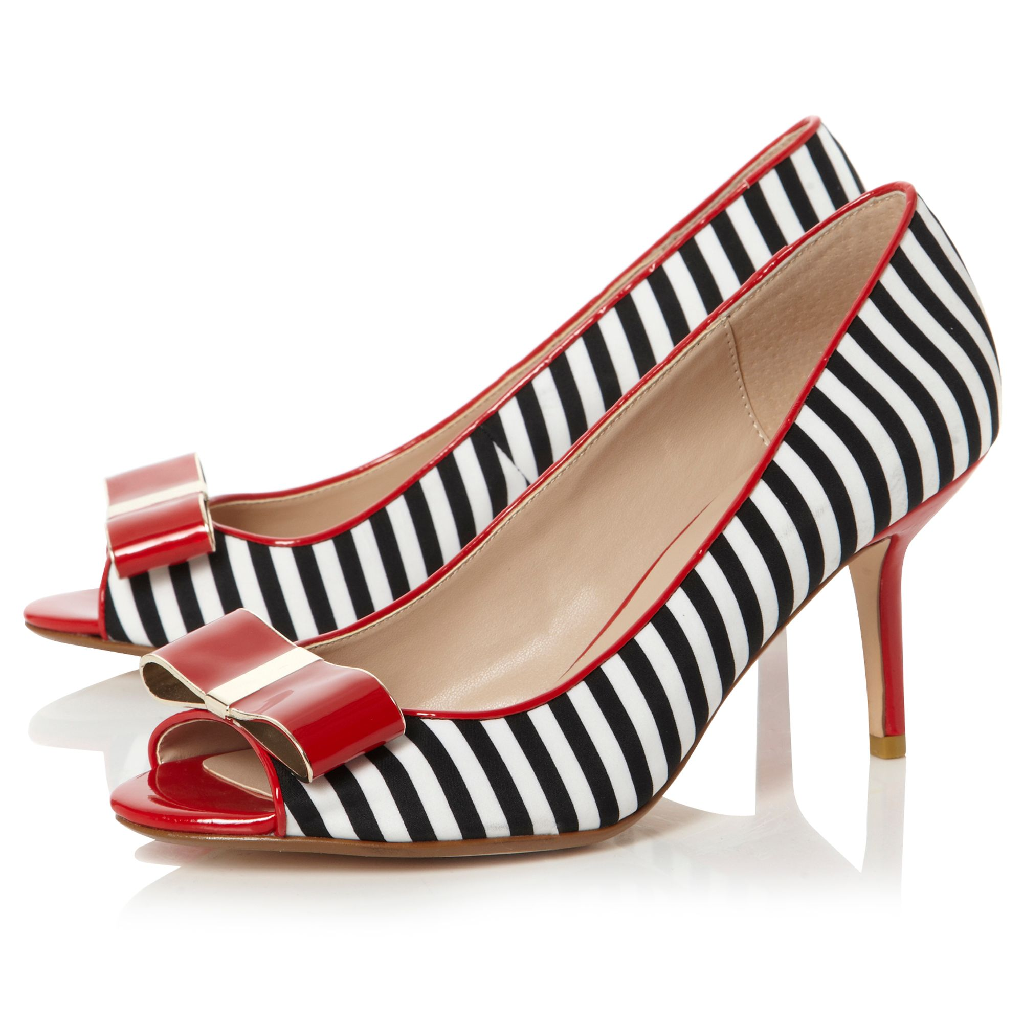 Demure enamel bow striped peeptoe shoes