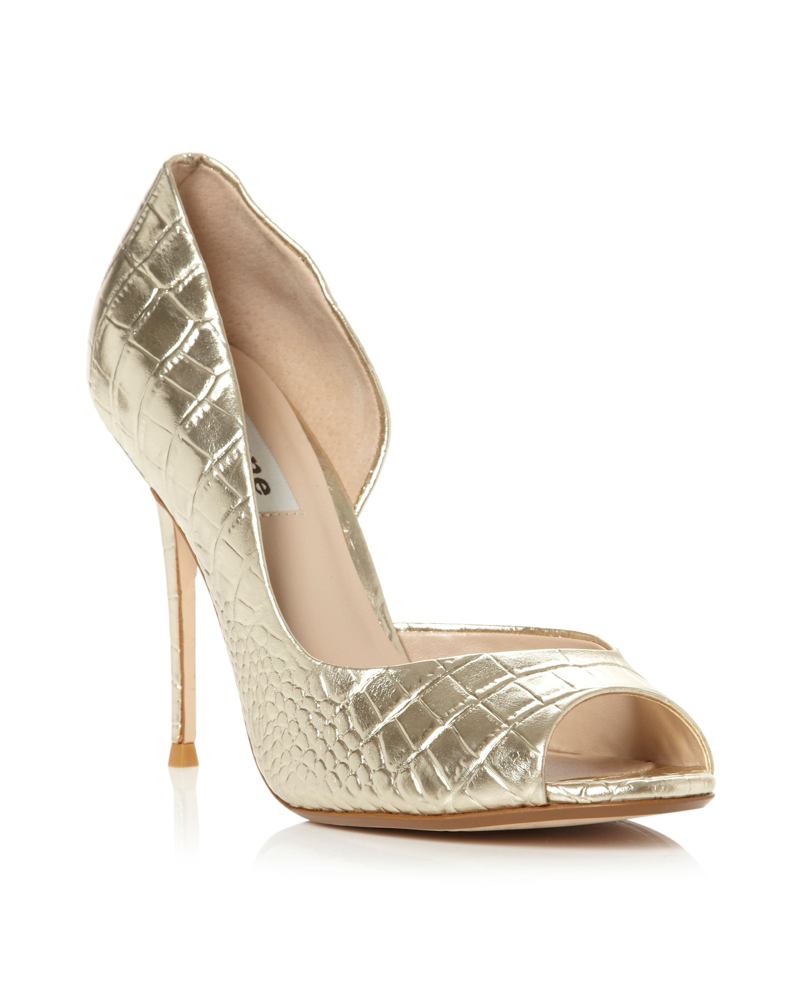 Deluxe metallic croc dorsay peeptoe shoes
