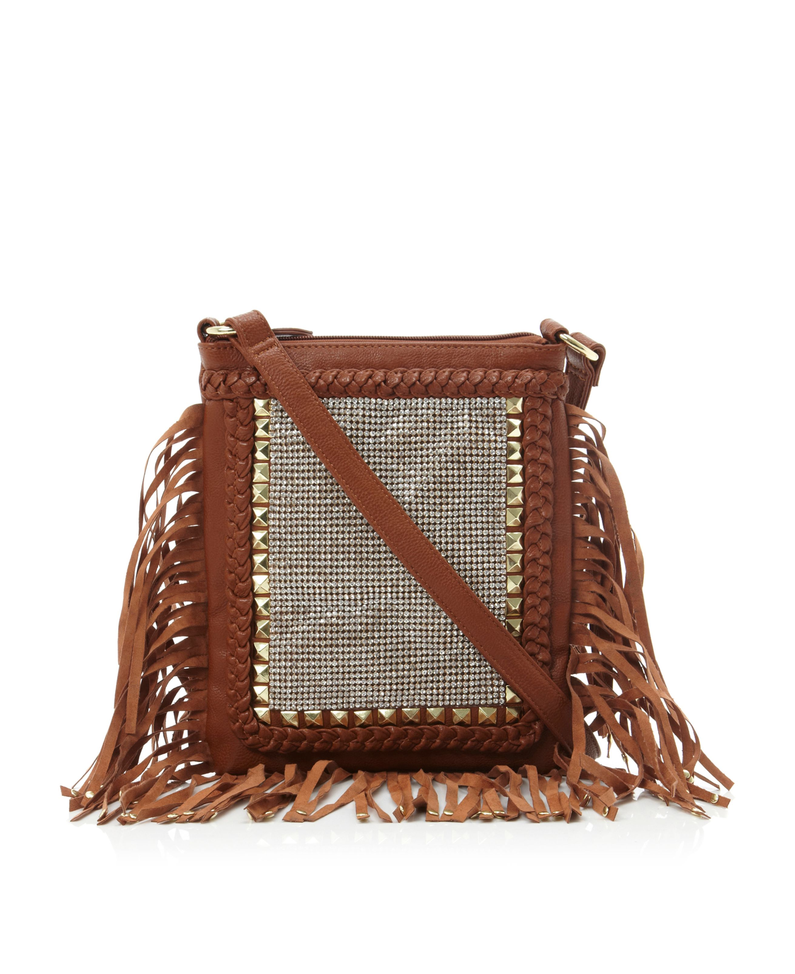 Bjosiee stud fringe cross shoulder bag