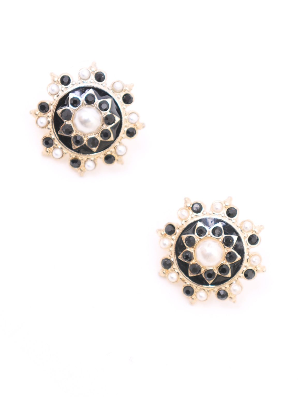 Jet and pearl star earrings