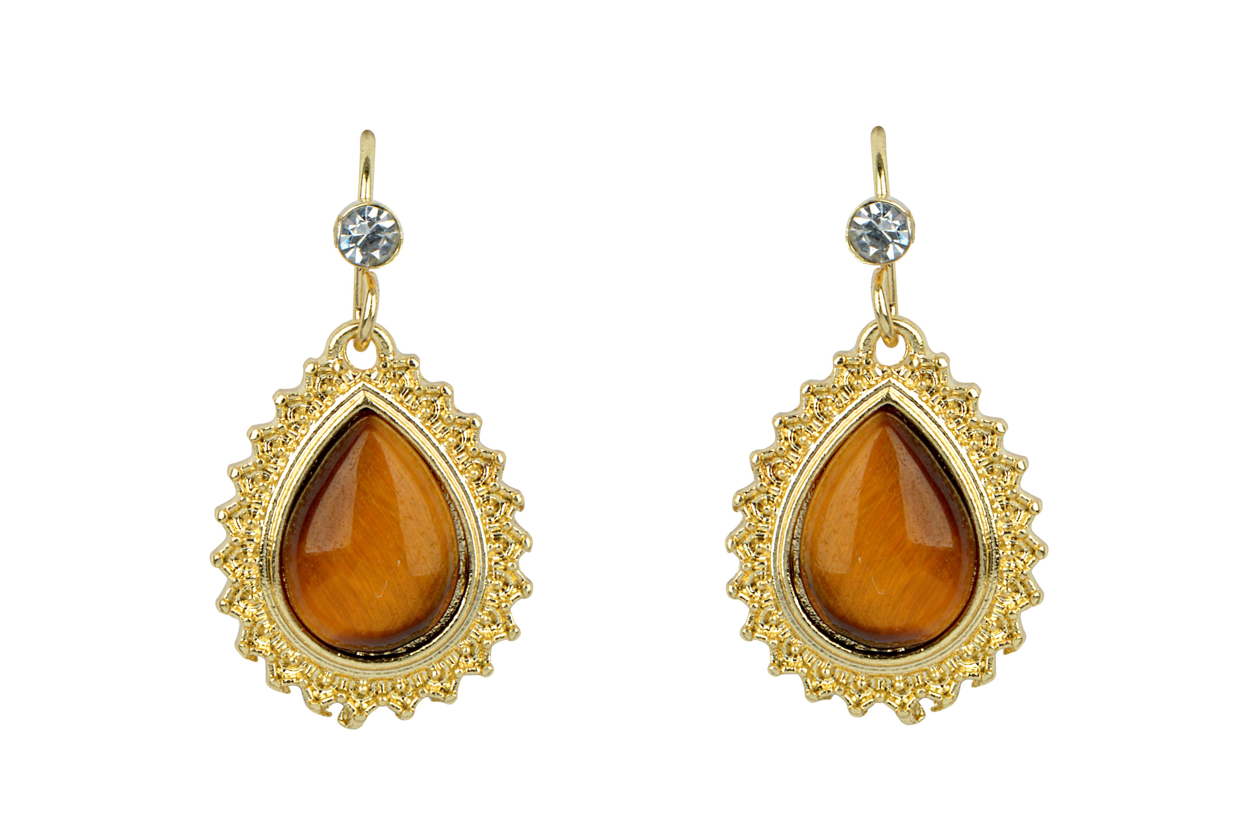 Eva tiger eye tear drop earrings