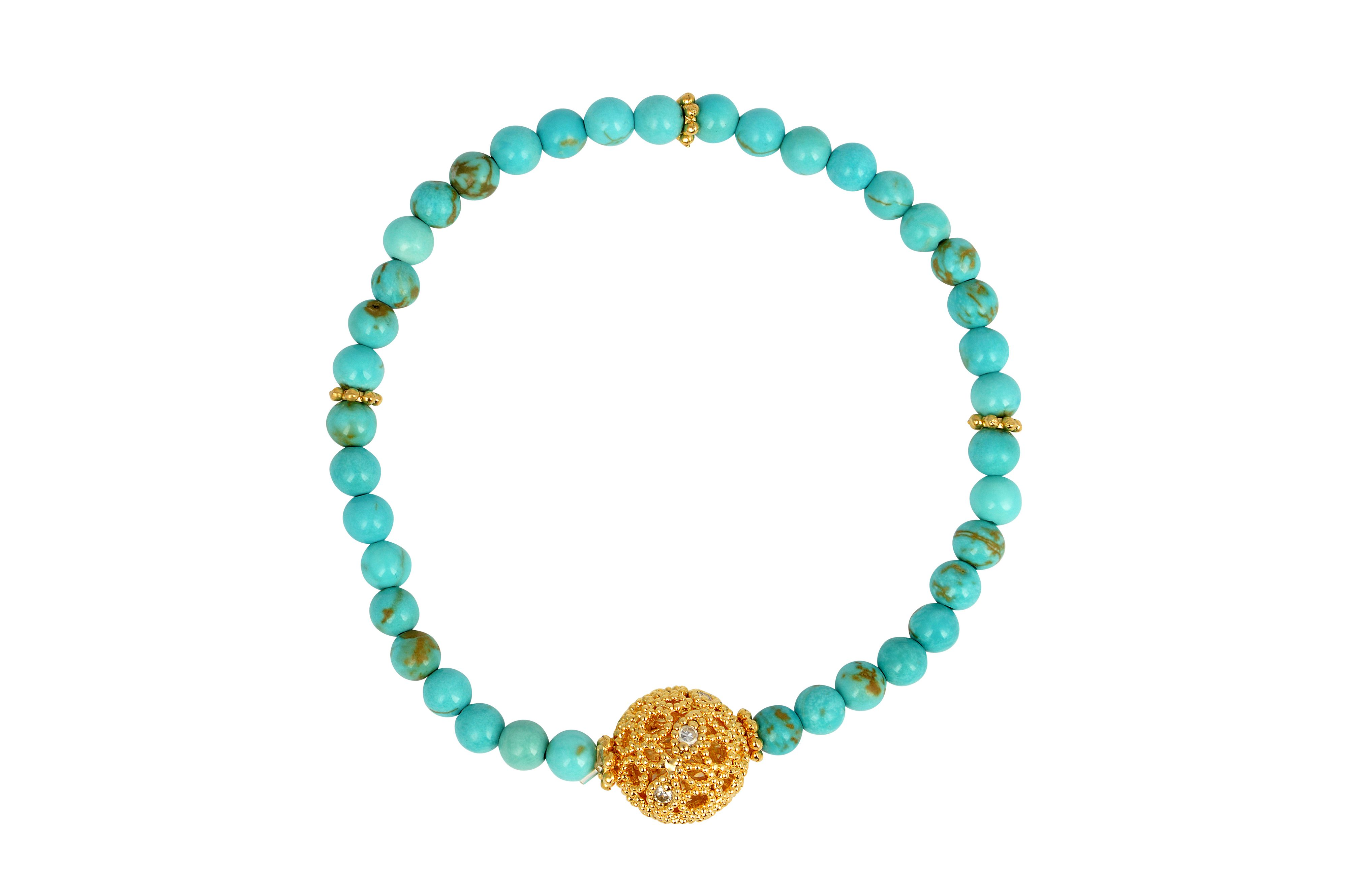 Turquoise stone stretch friendship bracelet
