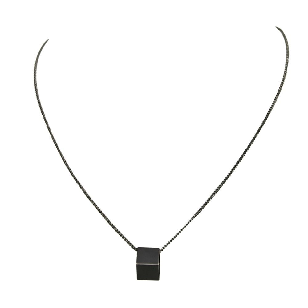Layered geometric cube necklace