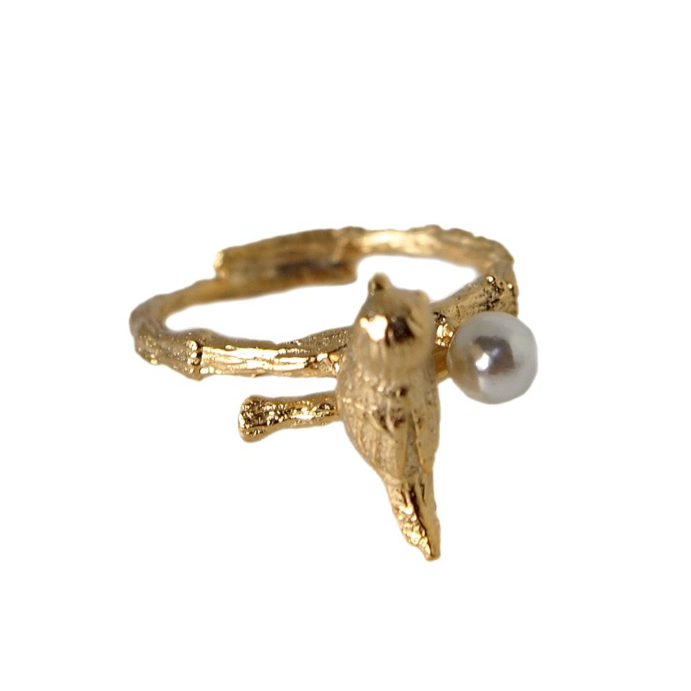 Layered bird and pearl ring
