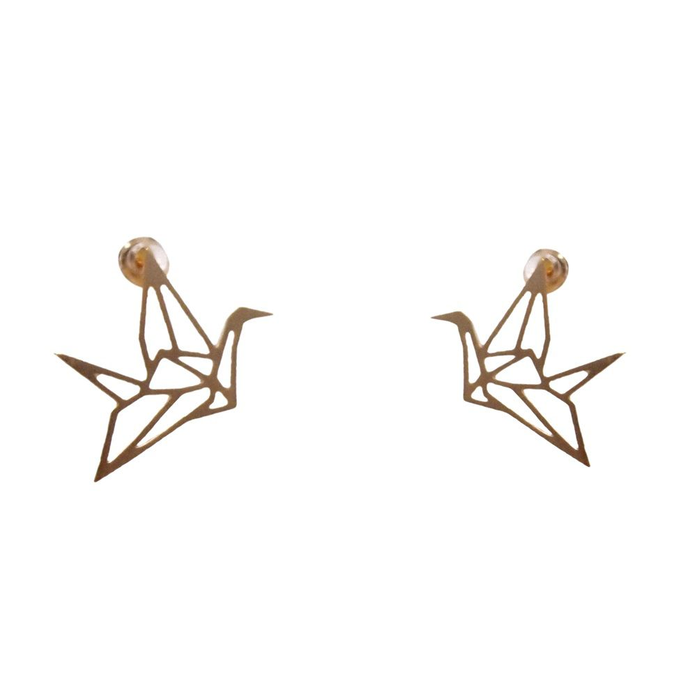 Layered cut out bird earrings