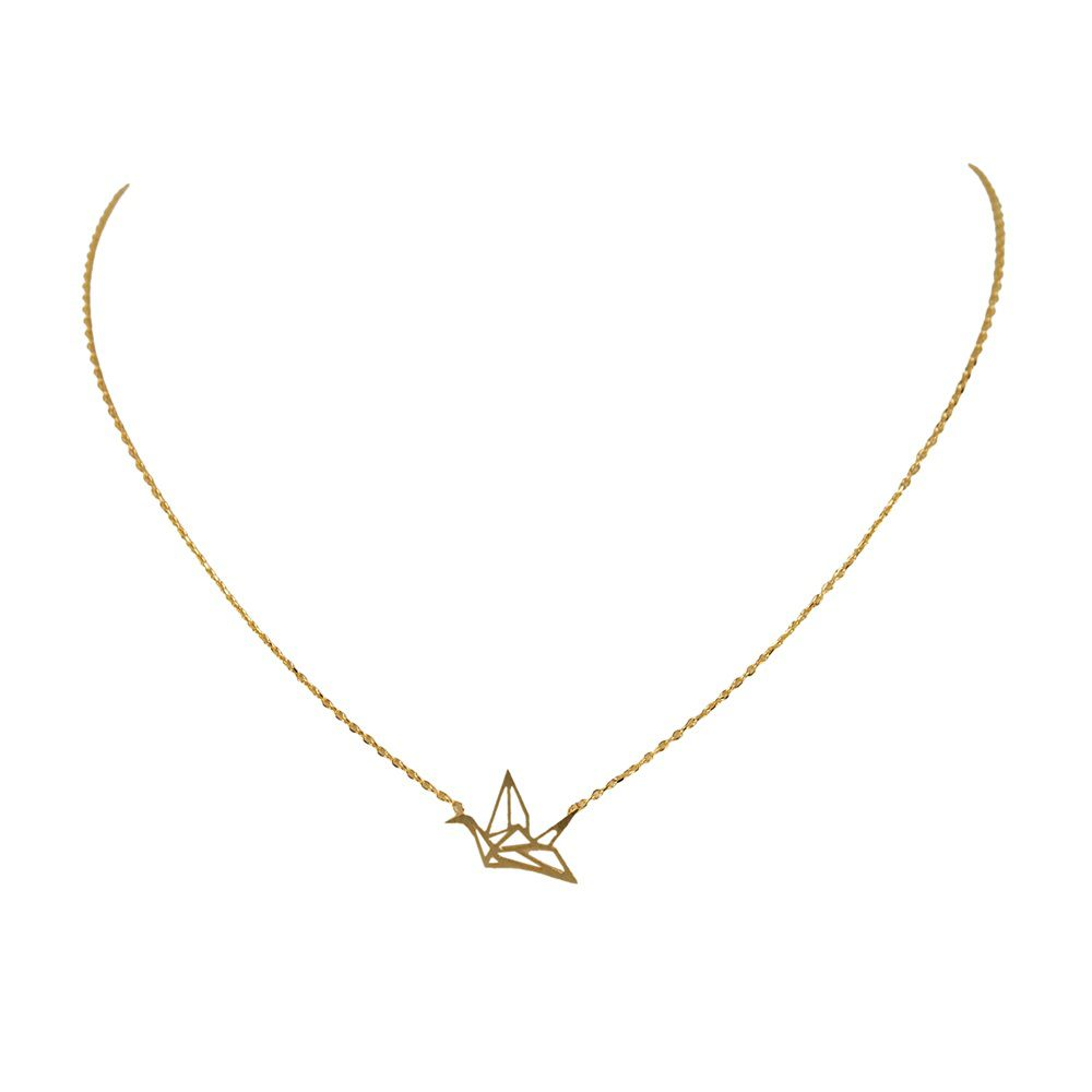 Layered cut out bird necklace
