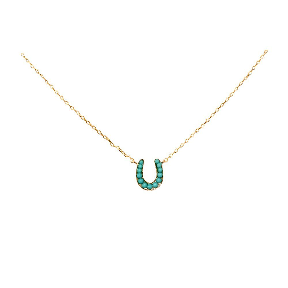Layered horseshoe and pearl necklace