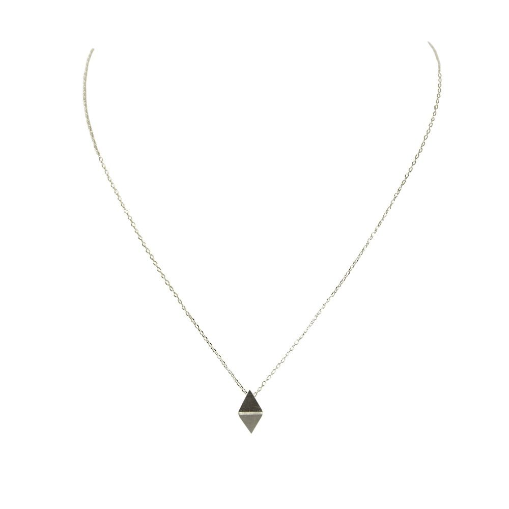 Layered foldover triangle necklace