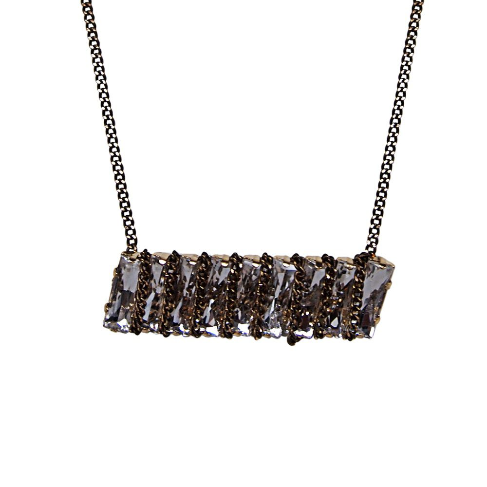 Punk`d stone chain wrapped necklace
