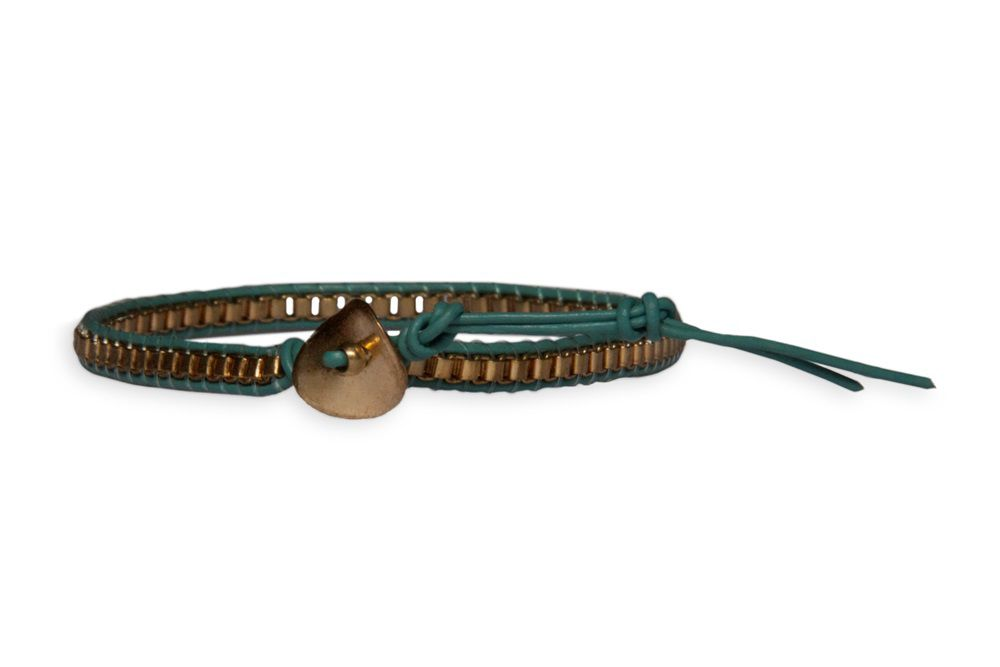 Green chain leather friendship bracelet