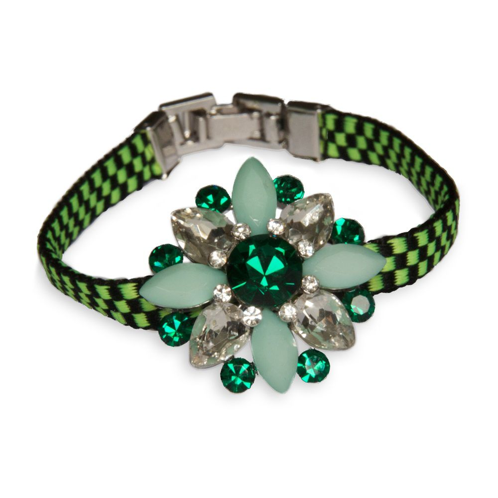 Global grunge green statement stone bracelet