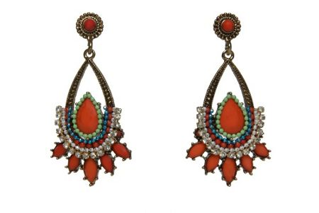 Ziba Global grunge stone chandelier drop earrings