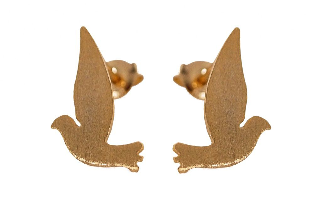 Layered bird stud earrings