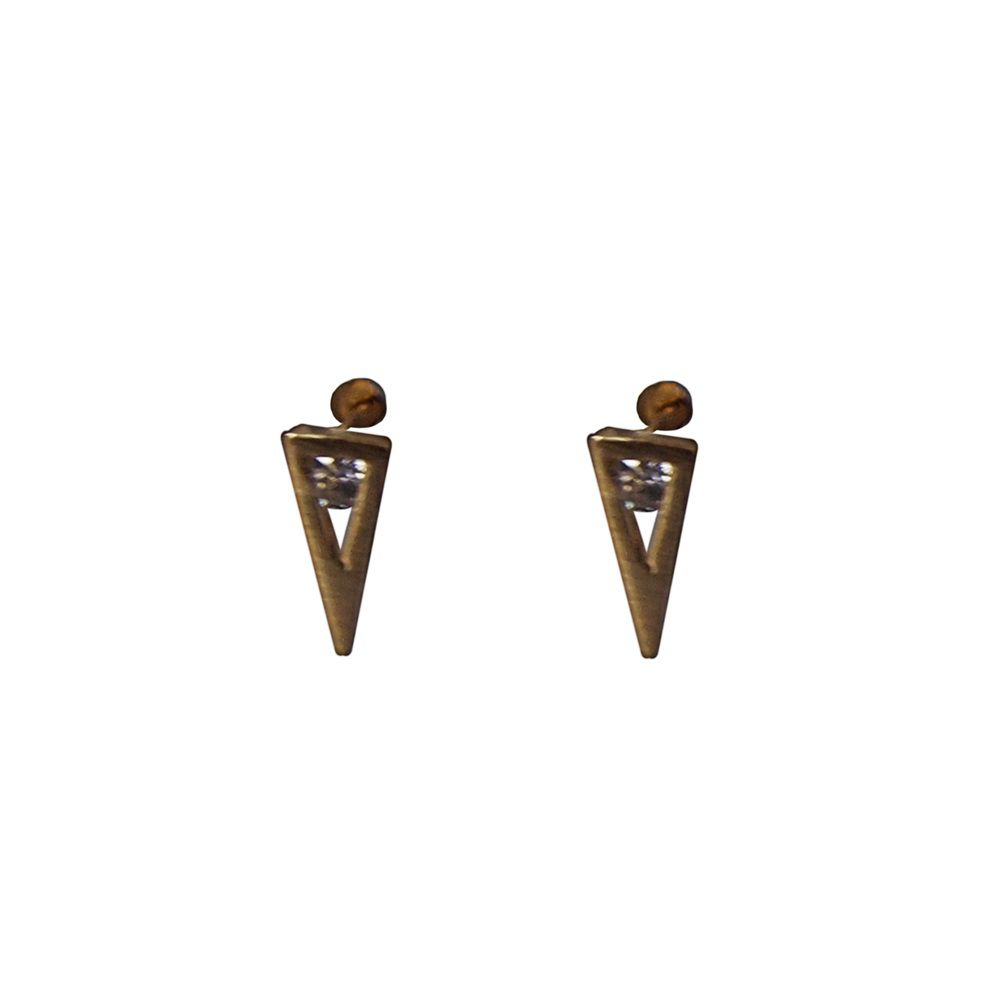 Layered crystal triangle stud earrings