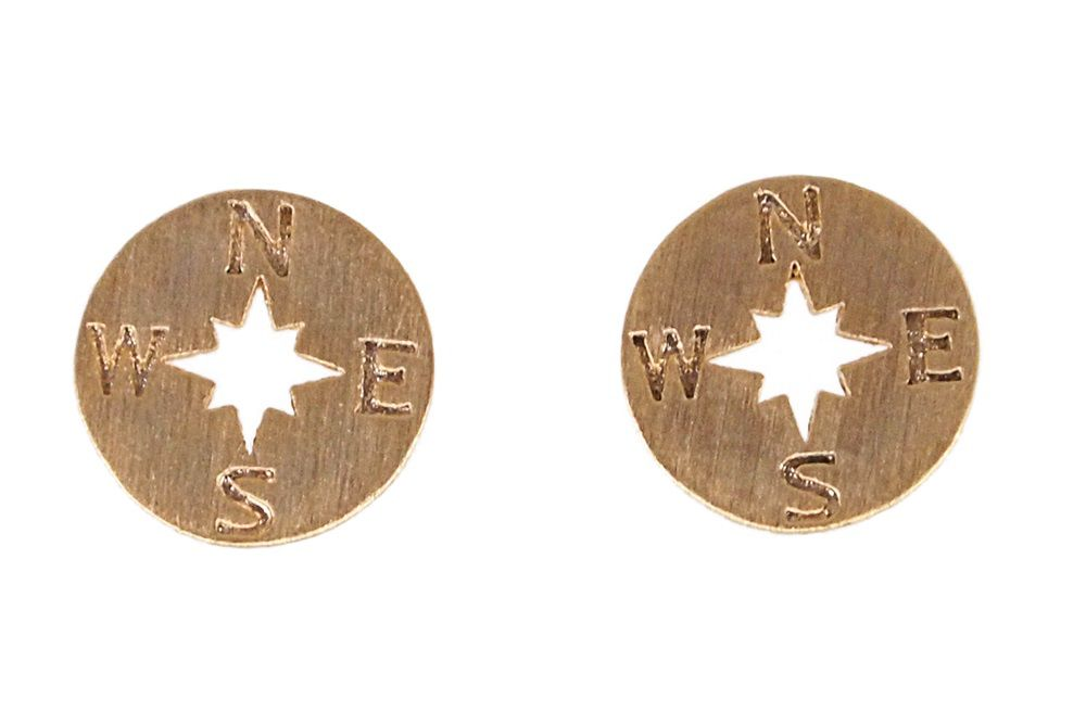 Layered compass stud earrings