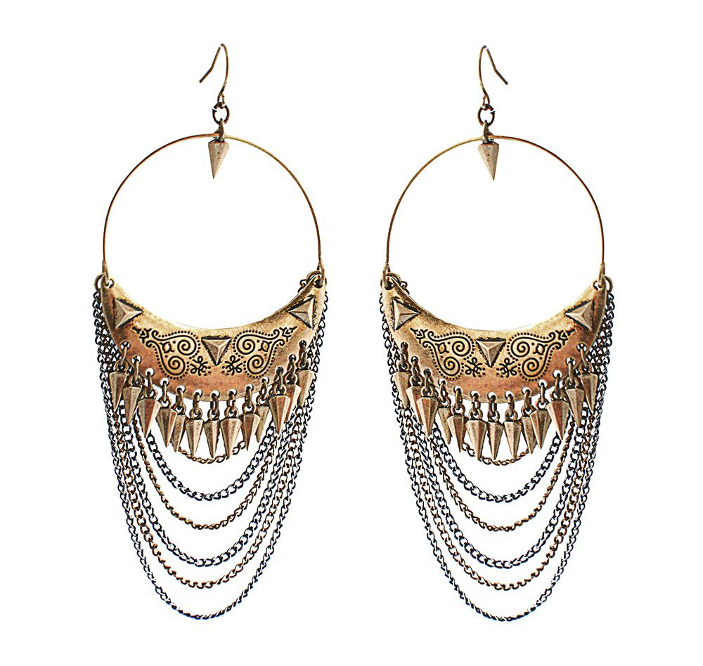 Signature spiked layered earrings
