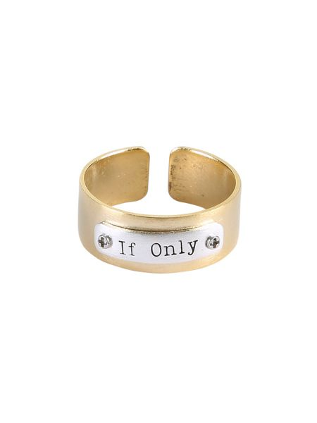 Ziba Layered gold if only plaque ring