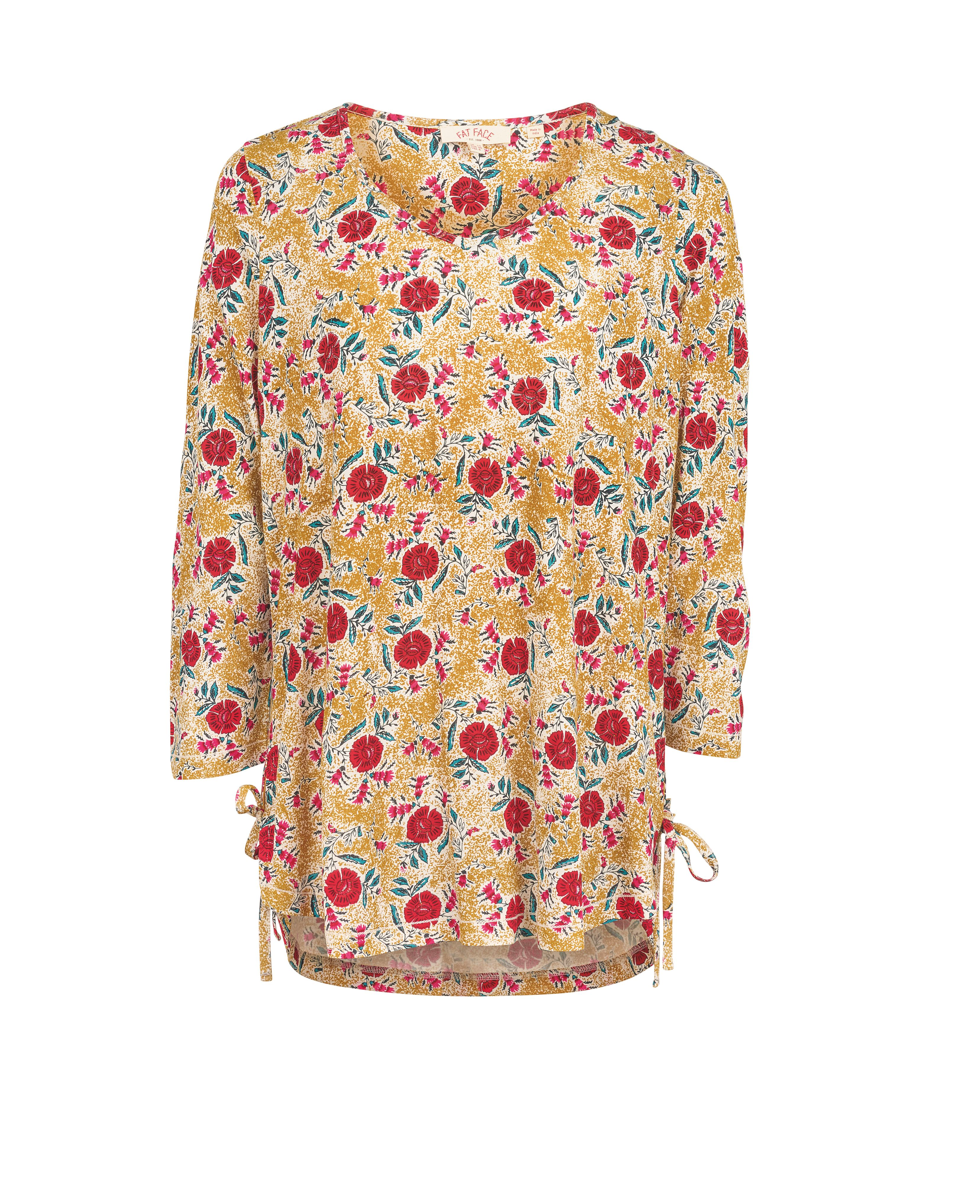 Fat Face Alessia Bali Floral Longline Top, Yellow