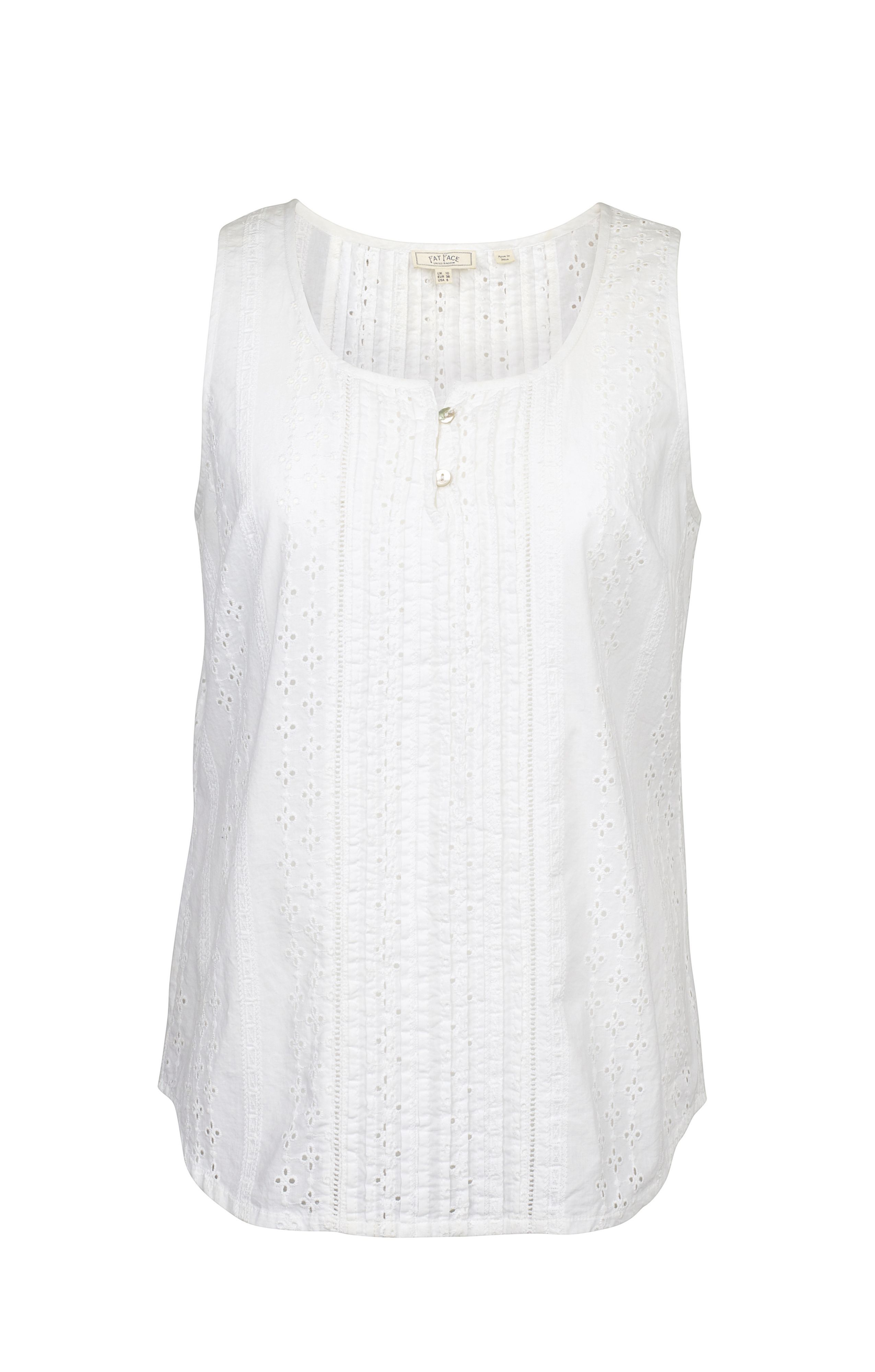 Fat Face Cassie Broderie Cami, White