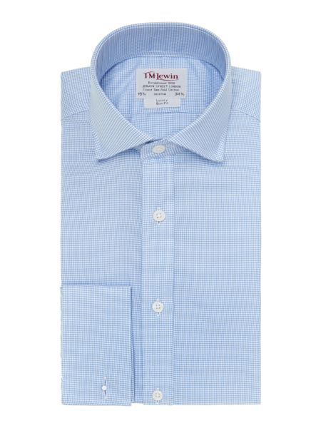 TM Lewin Dogtooth Check Slim Fit Cutaway Collar Shirt