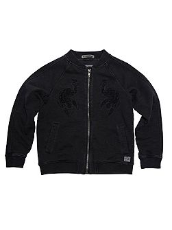 Boys Embroidered Spiderman Zip-Through Hoody