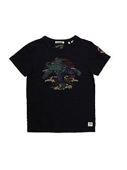 Boys Marvel Embroidered Print T-Shirt