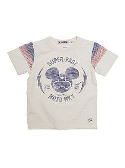 Boys Mickey Moto Print T-Shirt