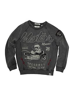 Boys Mickey Moto Print Sweatshirt