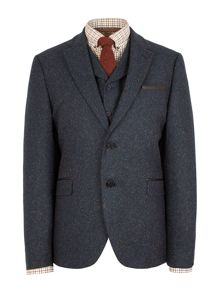 Patterned Notch Collar Tailored Fit Suit Jackets
