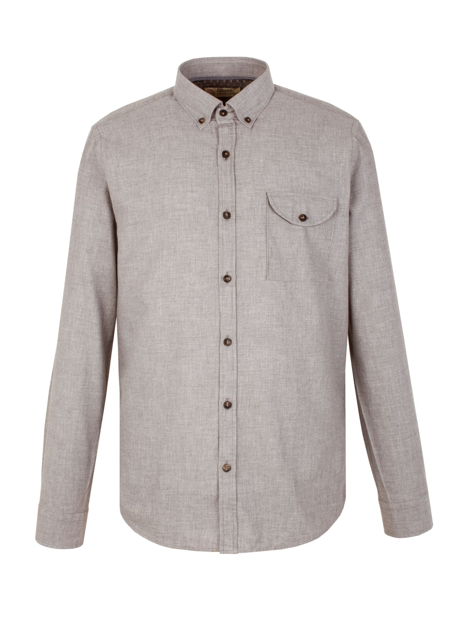 Mens Gibson Plain Tailored Fit Long Sleeve Button Down Shirt Silver