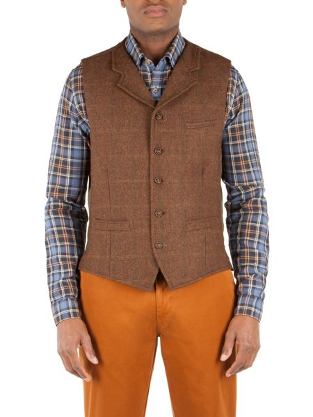 Gibson Tyburn check vest with collar
