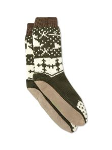 White Stuff Reindeer slipper sock