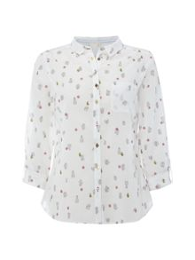 White Stuff Cactus Embroidered Shirt