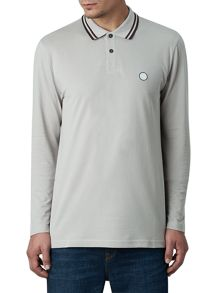 Pretty Green Long Sleeve Tipped Pique Top