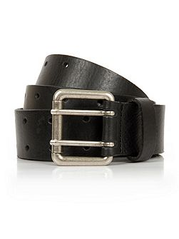 Black leather twin prong belt