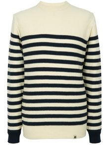 Knitted stripe crew neck sweater