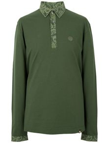 Pretty Green Long Sleeve Paisley Collar Polo