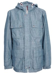 Pretty Green Tarbet Chambray Hooded Jacket
