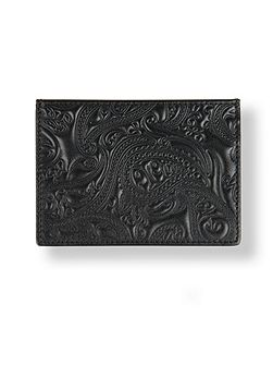 Leather paisley embossed cardholder