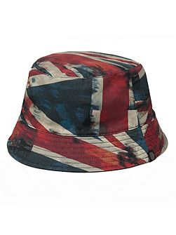 Red union jack reversible bucket hat