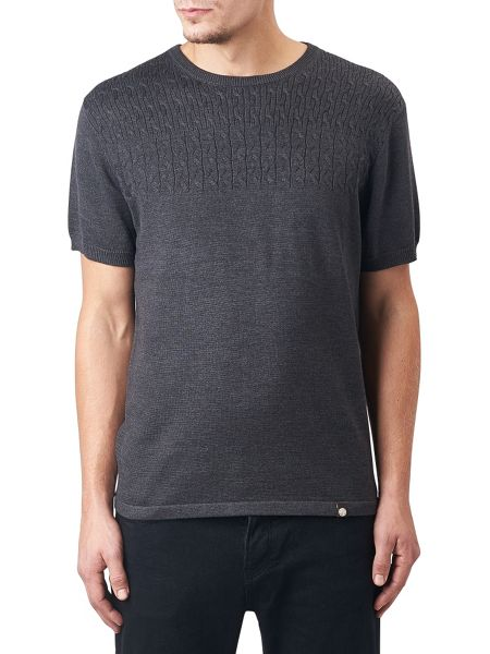 Pretty Green Edale Cable Knit T-Shirt