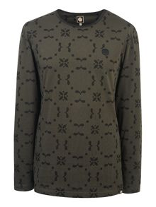 Pretty Green Long Sleeve Isca Printed T-Shirt