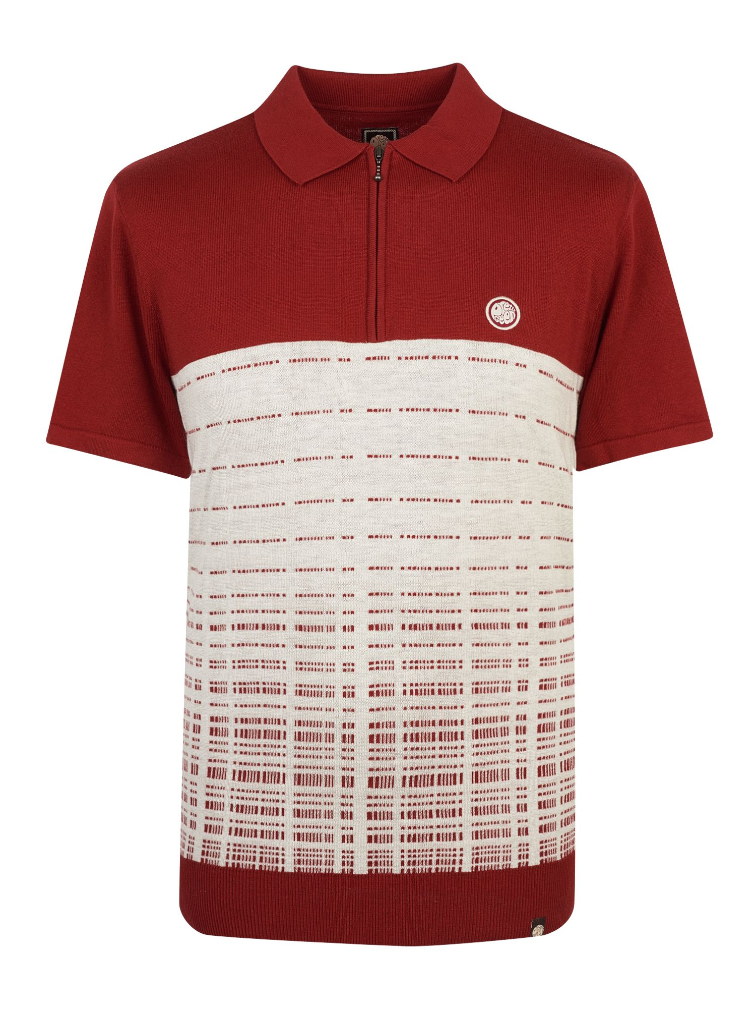 Men's Pretty Green Half Zip Knitted Polo Shirt, Dark Red
