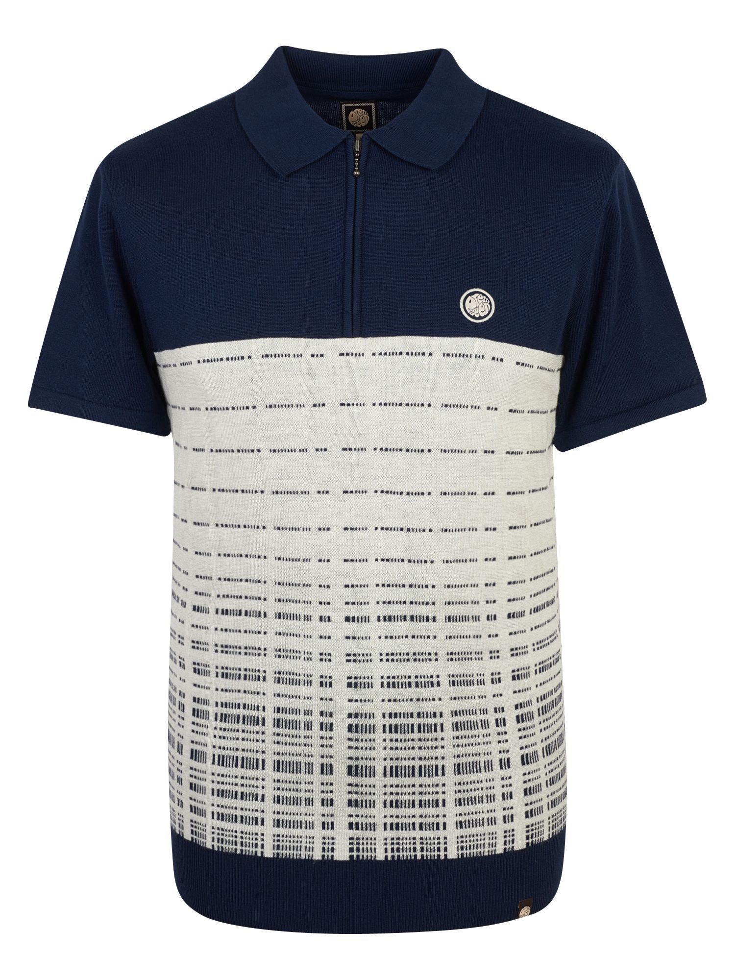 Men's Pretty Green Half Zip Knitted Polo Shirt, Blue