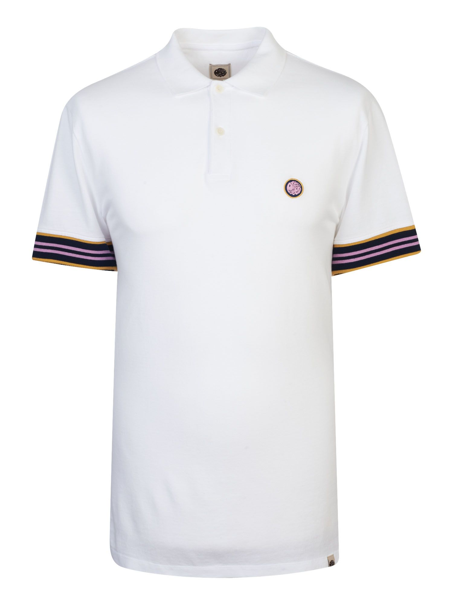Men's Pretty Green Contrast Tipped Pique Polo Shirt, White