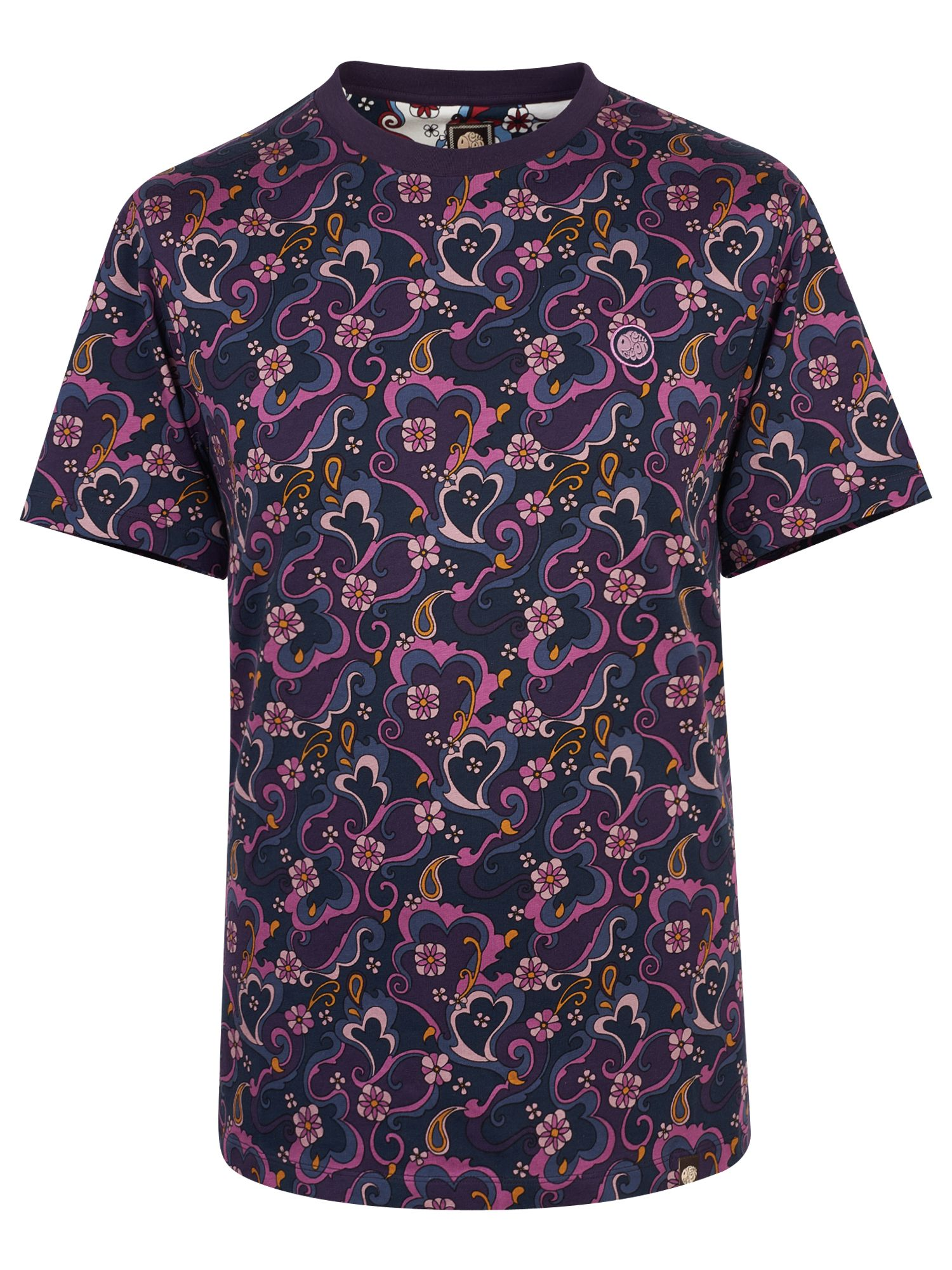 Men's Pretty Green Floral Paisley Print T-Shirt, Purple