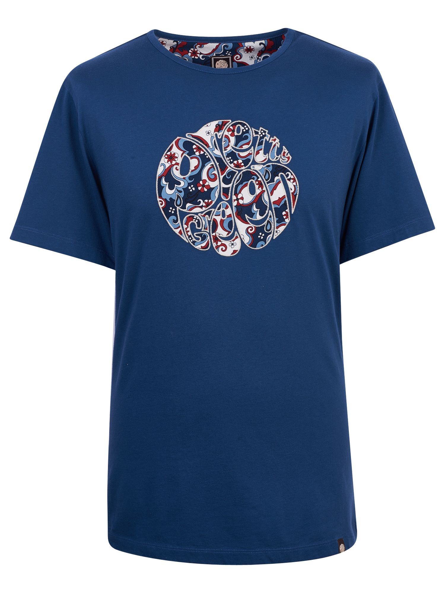 Men's Pretty Green Floral Print Applique T-Shirt, Dark Blue