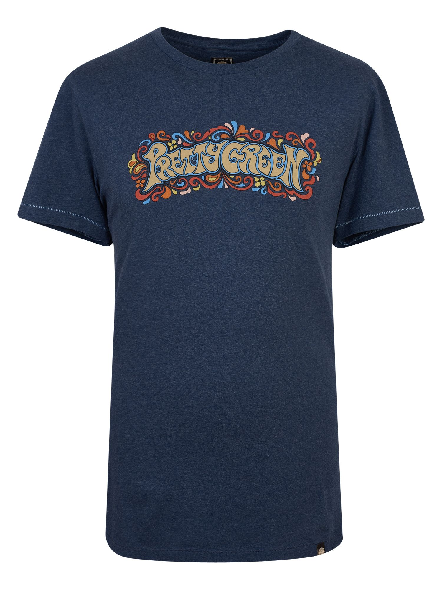 Men's Pretty Green Print T-Shirt, Blue Marl