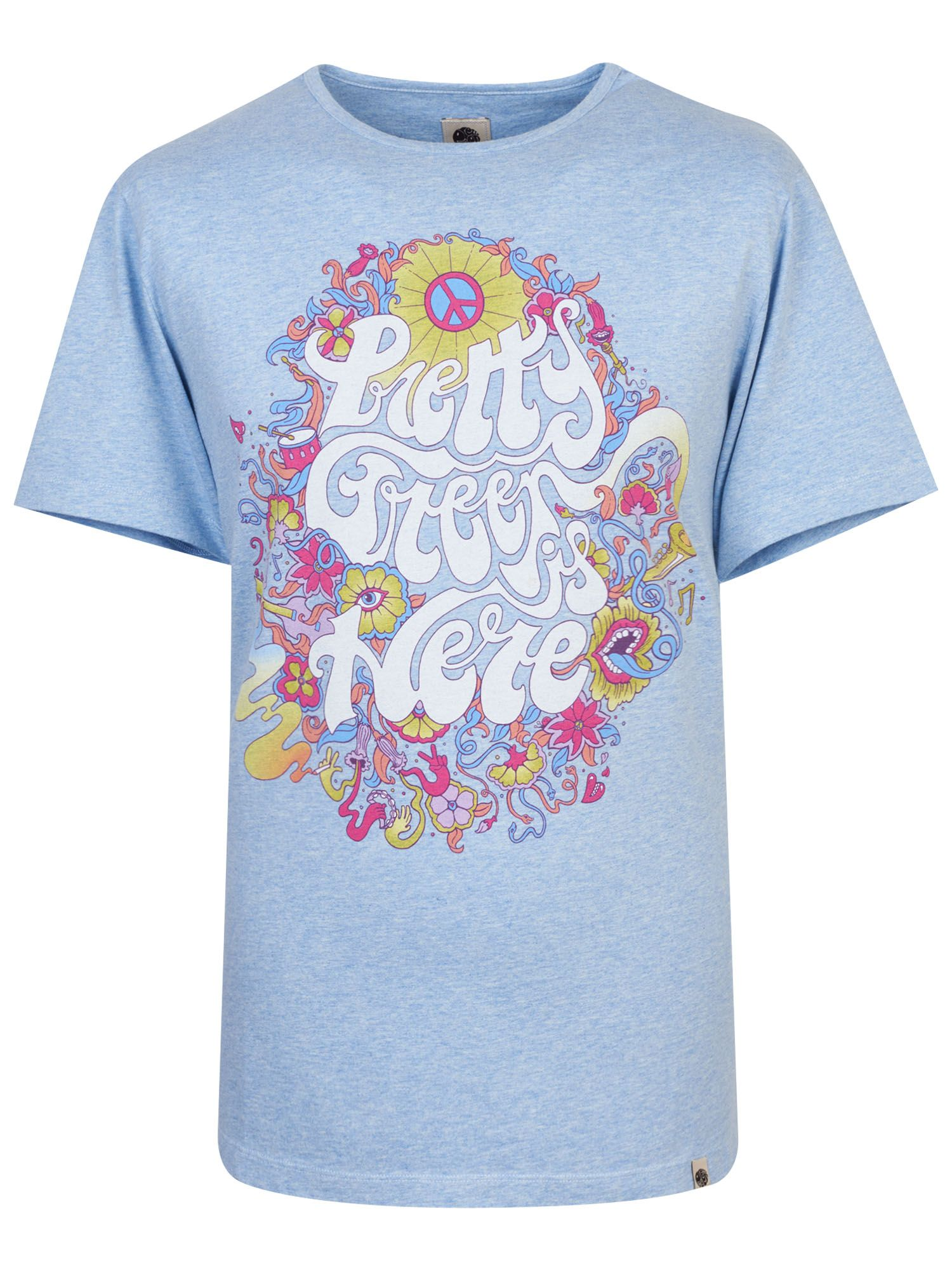Men's Pretty Green Floral Print T-Shirt, Blue Marl